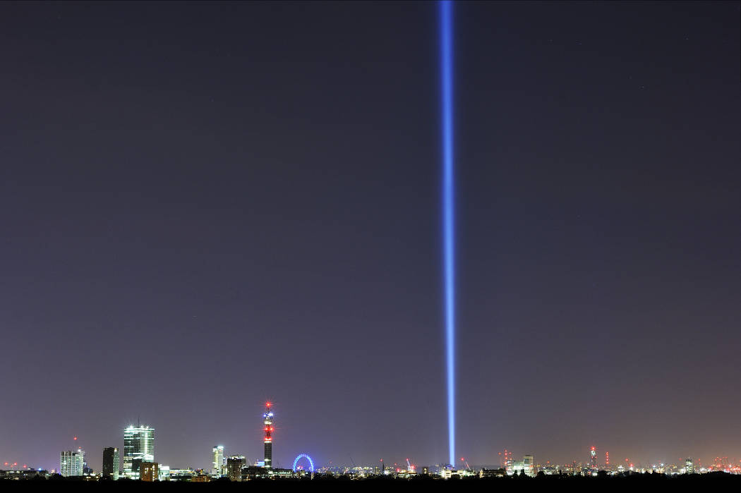 spectra by Ryoji Ikeda, 2014, view from Primrose Hill