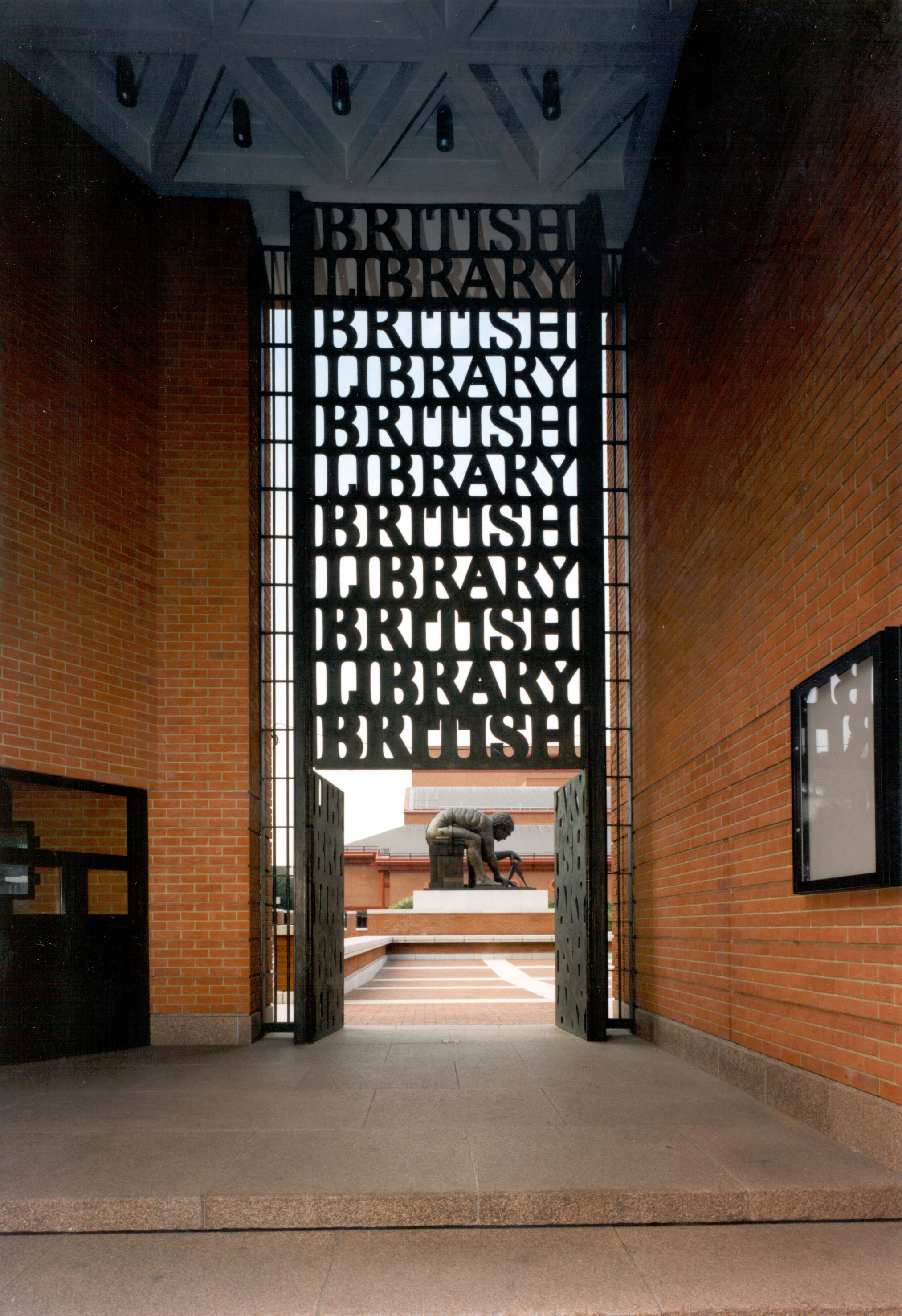 British Library Gates/Portico designed by Alphabetician, David Kindersley