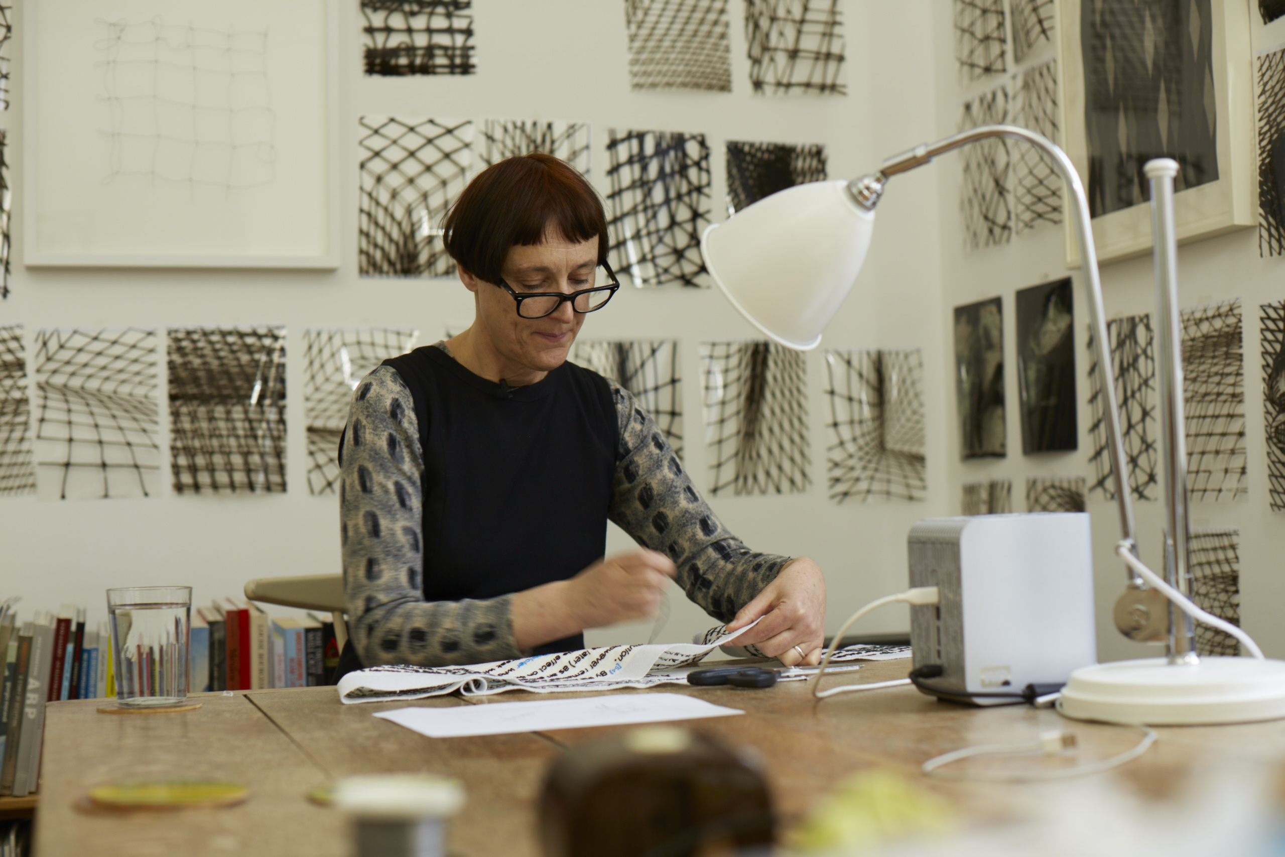 Cornelia Parker at work on Magna Carta An Embroidery – Photograph by Joseph Turp