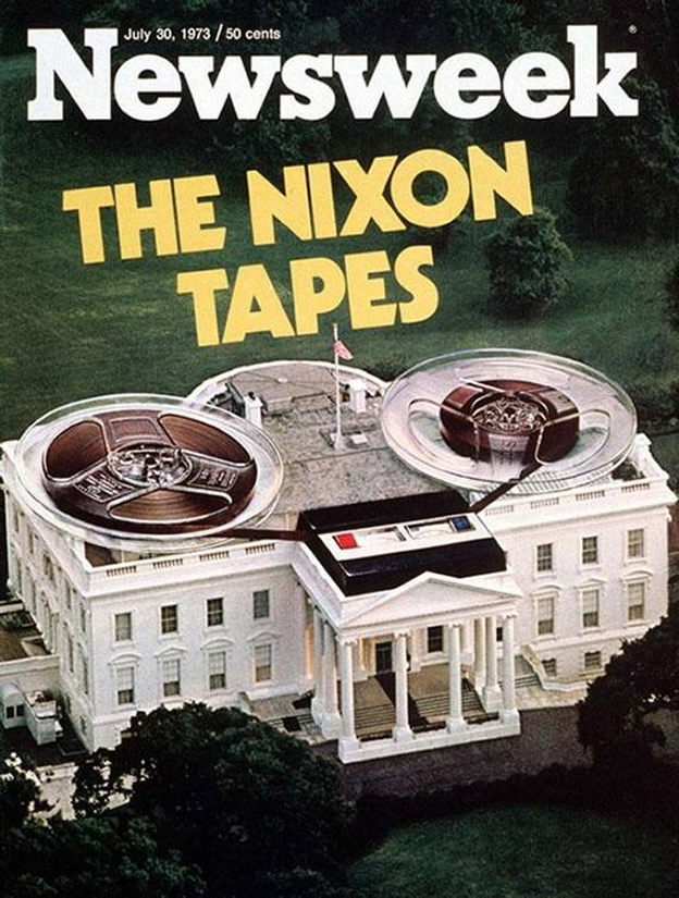 """Nixon Tapes"" cover illustration by Ron Meyerson (designer) & Wally McNamee (photographer), Newsweek, July 30, 1973"