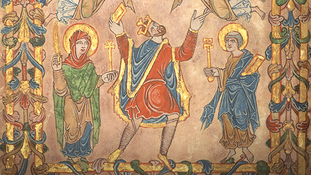 King Edgar detail from New Minister Charter, c.966