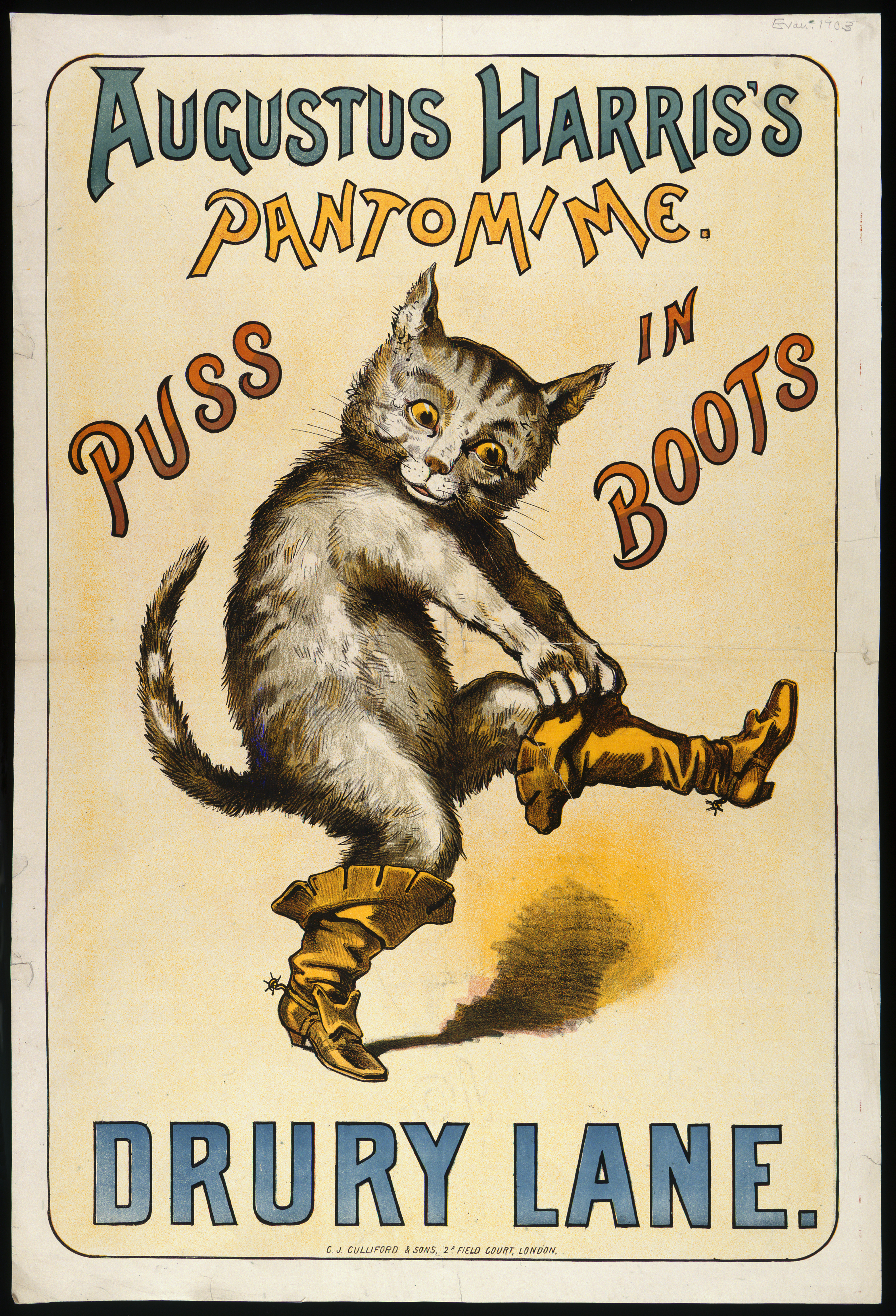 A chromolithograph of Puss in Boots