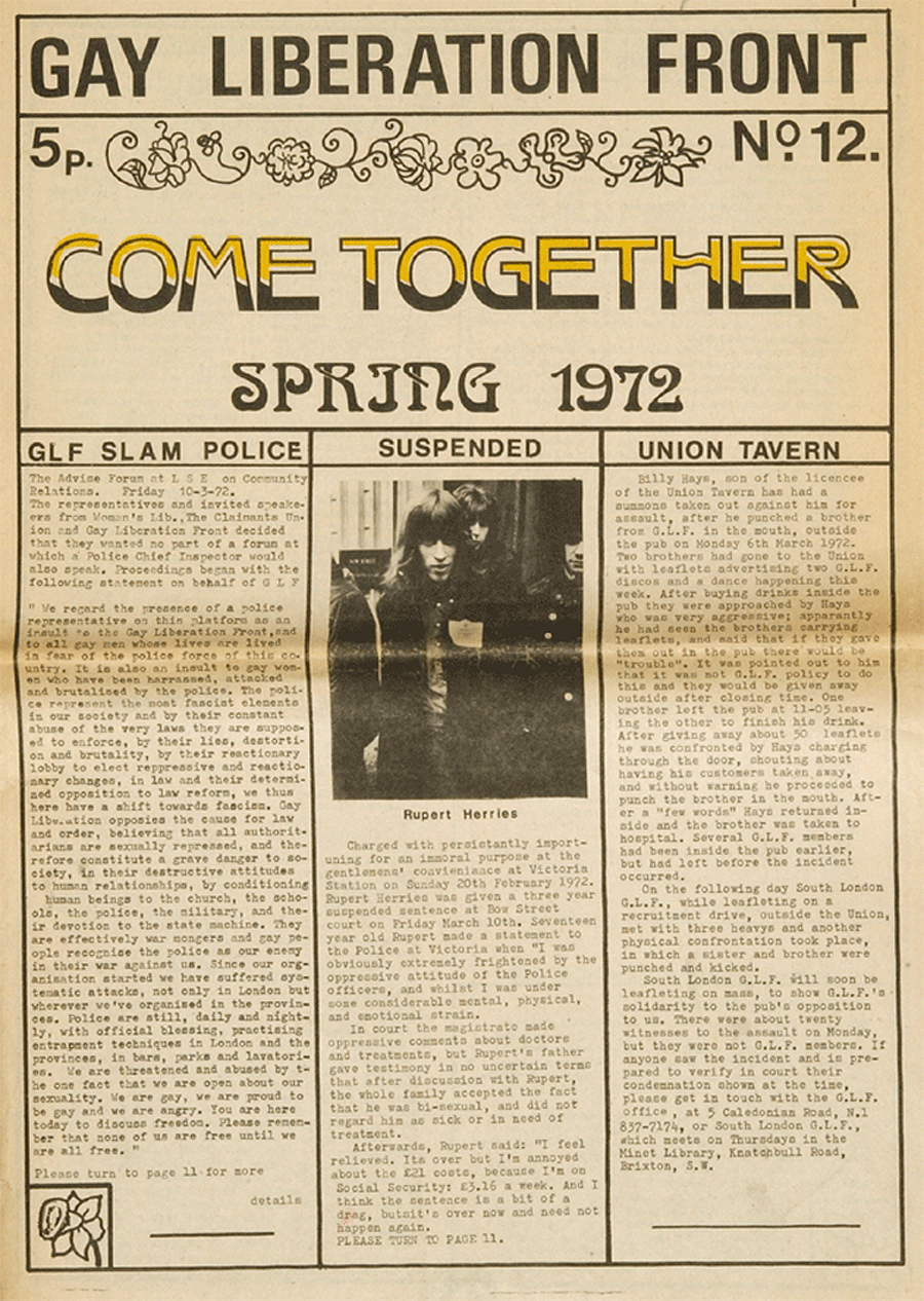 Gay Liberation Front 'Come Together' newspaper image