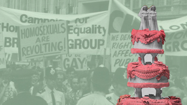 Image used to illustrate the exhibtion Gay UK: Love, Law and Liberty, at the British Library. Images copyright LSE Library and Peter Tatchell.
