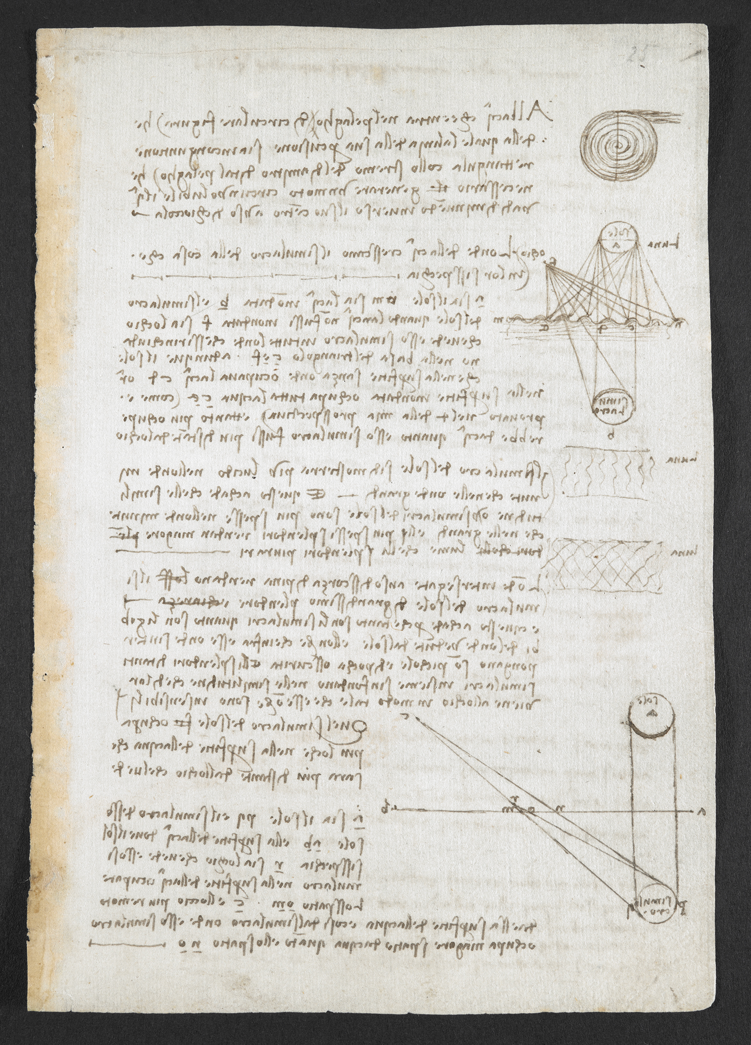 Observations on the course of the River Arno. British Library, Arundel MS 263, f. 149r © British Library Board