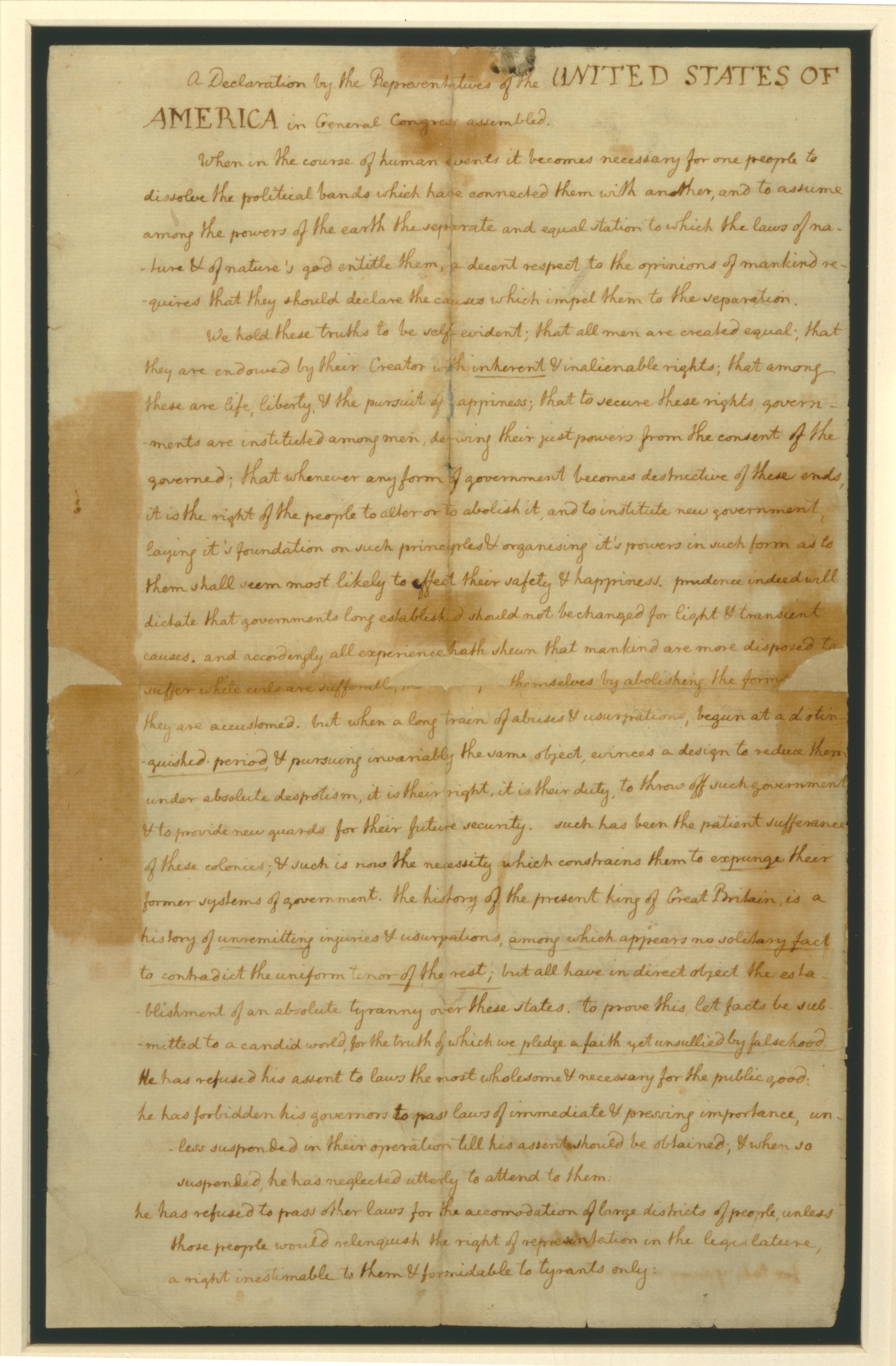 Page 4 of the Declaration of Independence on display in Magna Carta