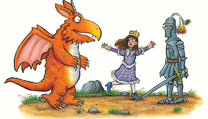 Illustration of Zog, Princess Pearl and Sir Gadabout © Julia Donaldson & Axel Scheffler, 2010