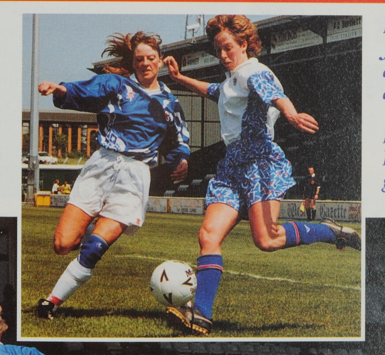 England's Jan Murray under pressure from Iceland defender Arney Maenusdottir, 1992. With kind permission of Patricia Gregory.