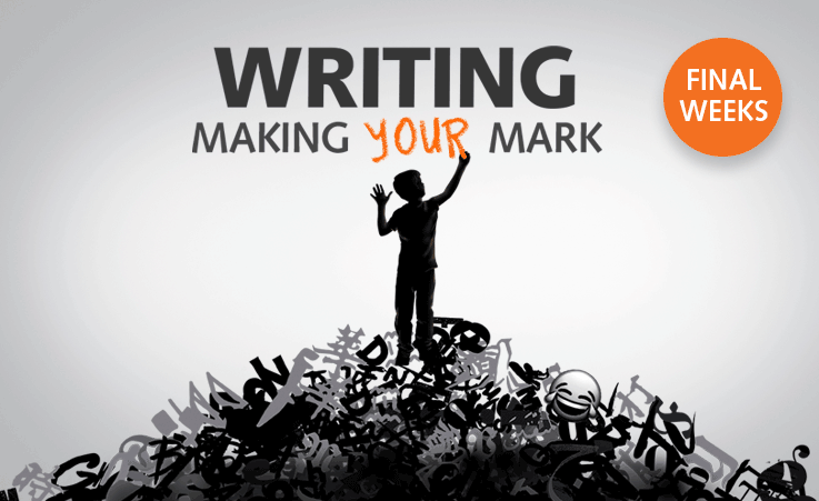 Creative for Writing: Making Your Mark. A boy standing on a mountain of letters and characters.