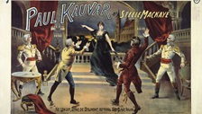 A vintage Theatre Royal poster featuring characters on a stage