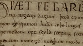 Crop of text from the Beowulf manuscript