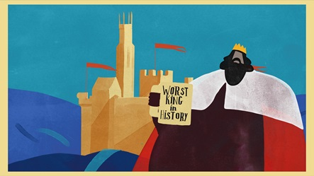 Animation still of King John outside a castle holding a 'Worst King in History' mug