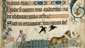 A marginal illustration of men ploughing of the fields with horses, from the Luttrell Psalter