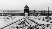 Photograph of snow-covered train tracks and entrance to the Auschwitz-Birkeneau concentration camp. Personal belongings are scattered on the tracks.