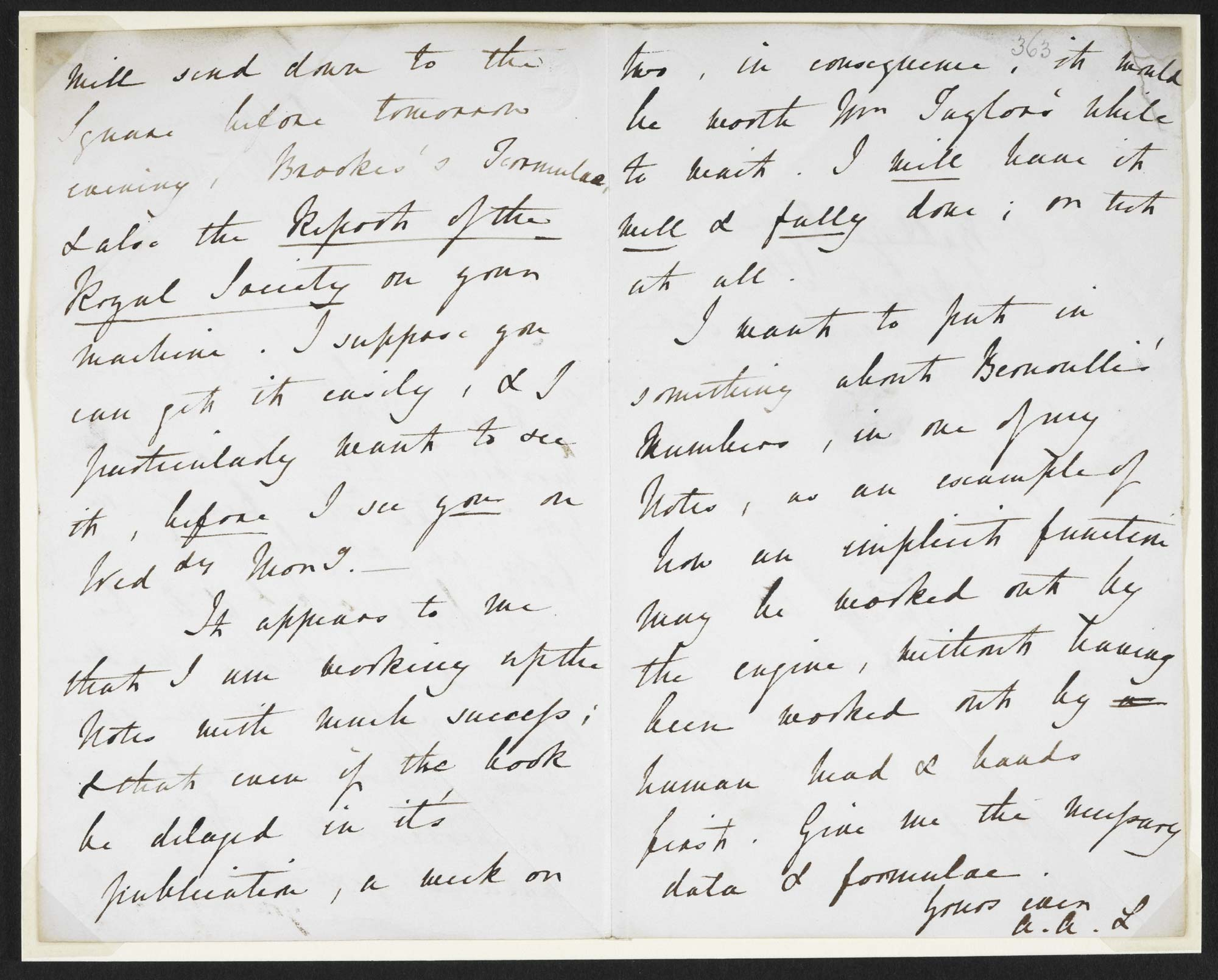 Letter from Ada Lovelace to Charles Babbage, 10 July 1843