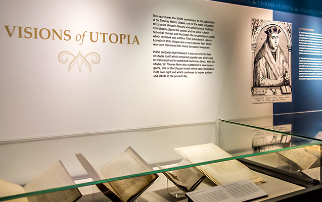 The Visions of Utopia exhibition (photograph of exhibit cases and interpretation panels).