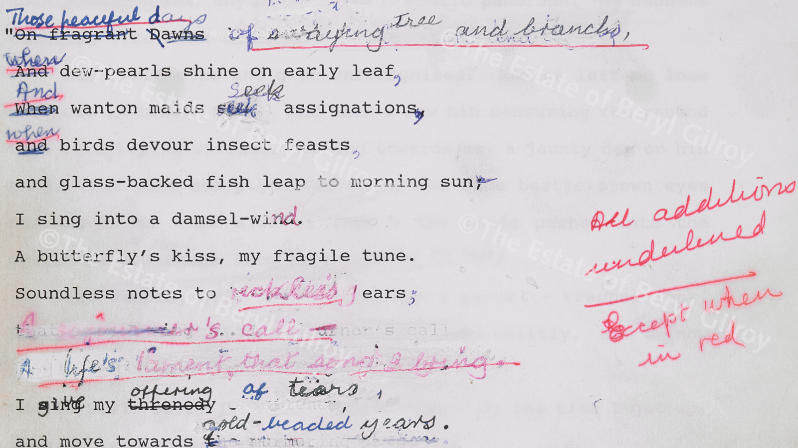Crop of a page from Beryl Gilroy's typescript draft of In Praise of Love and Children with her handwritten notes