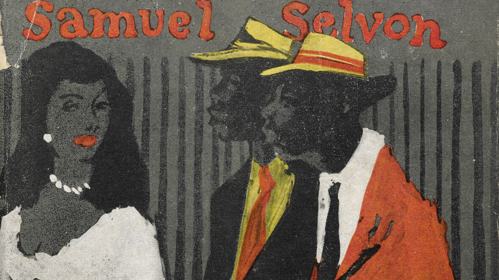 Crop of the first editon book cover for Samuel Selvon's The Lonely Londoners, showing an illustration of two Caribbean men in suits and a woman in pearls