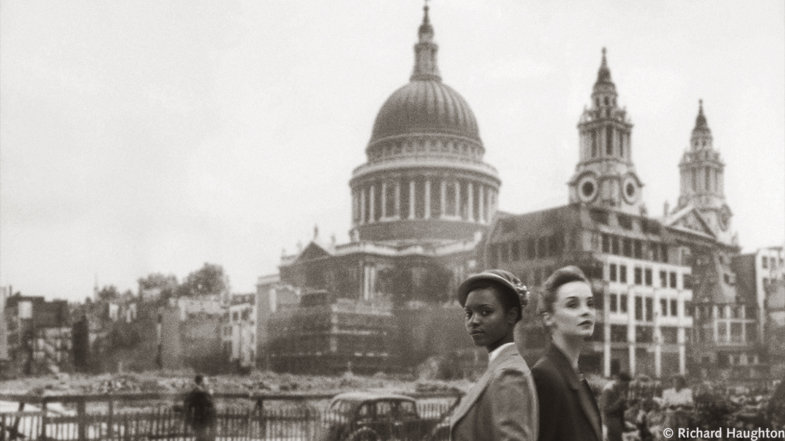 (c) Richard Haughton, book cover from Levy's 2004 Small Island, two women walking past St Pauls