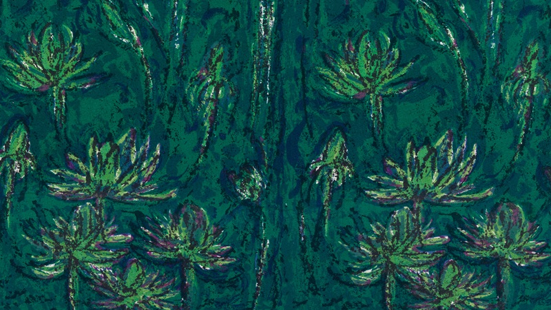 Althea McNish's Trinidad textile print featuring a repeated tree and leaf motif in green tones
