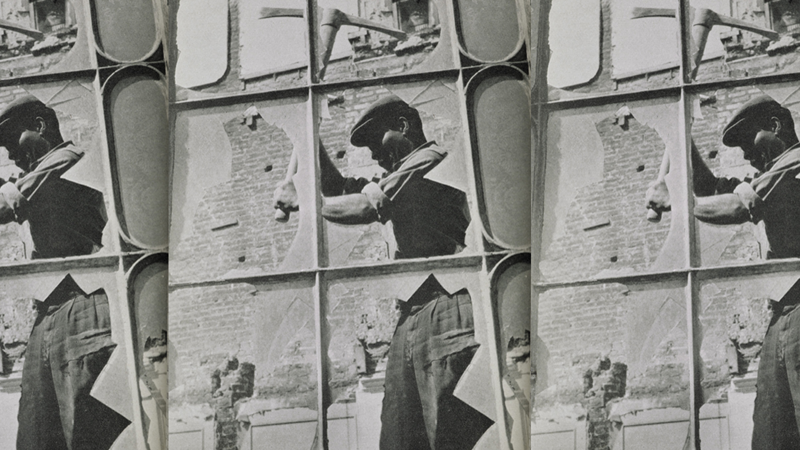 Repeated photograph of a Caribbean man using a pickaxe for demolition work, from the BBC pamphlet Going to Britain?