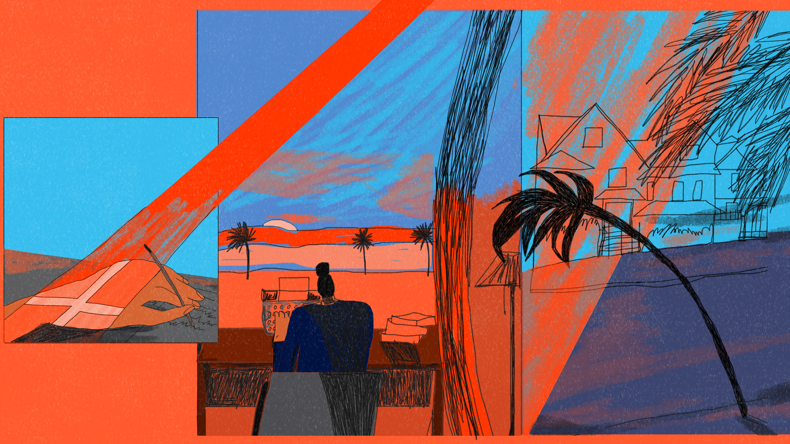 Illustration by Hannah Buckman interpreting Andrea Levy's essay Back To My Own Country. There are three images: close-up of a hand writing with a ray of light containing the Jamaican flag, a woman sat at a desk on a typewriter, and houses with a street and a palm tree