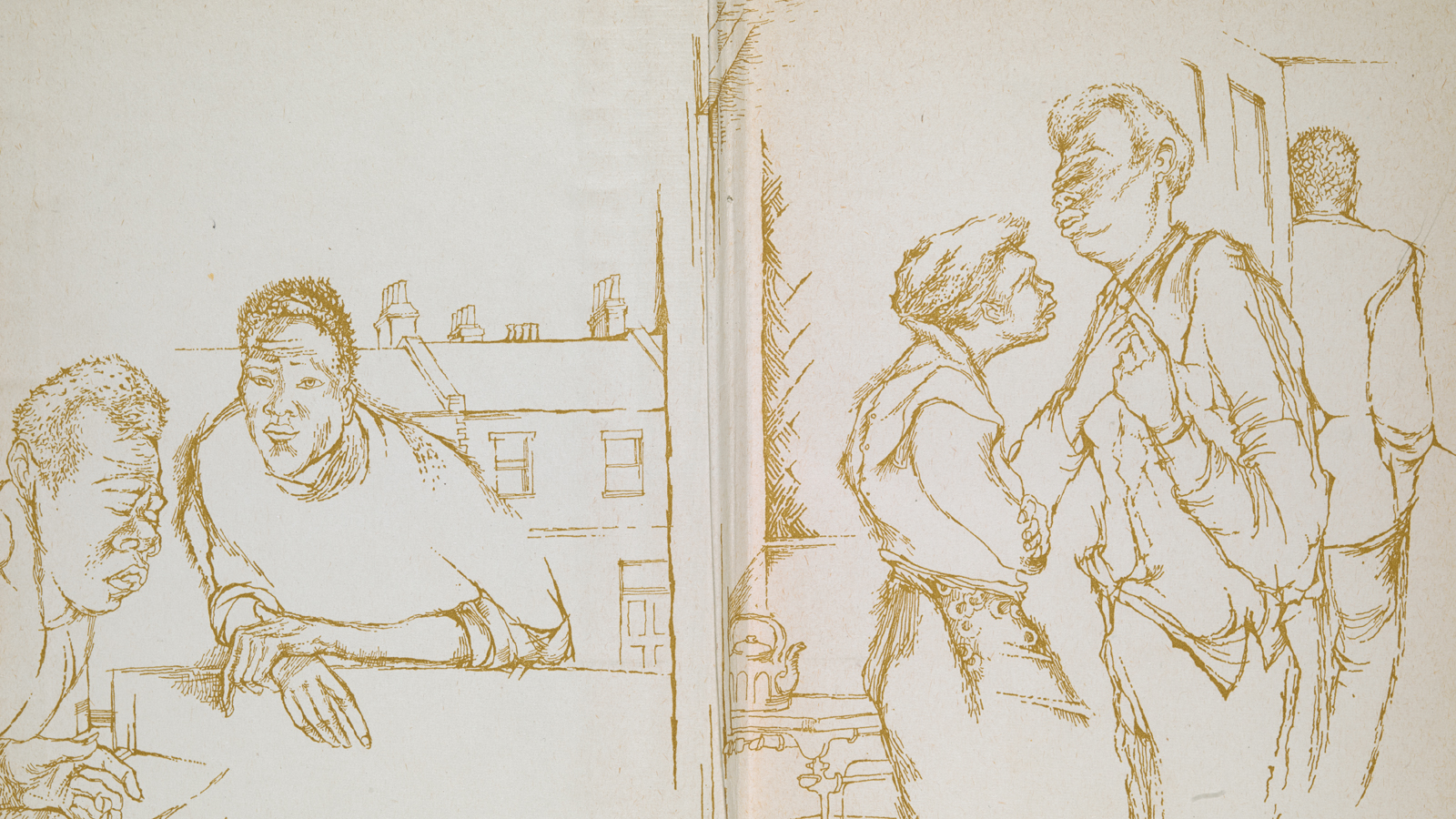 Crop of Denis Williams illustrations for The Emigrants by George Lamming. One scene shows two seated Caribbean men against a backdrop of terrace houses, one scene shows three Caribbean men inside a room with a stove