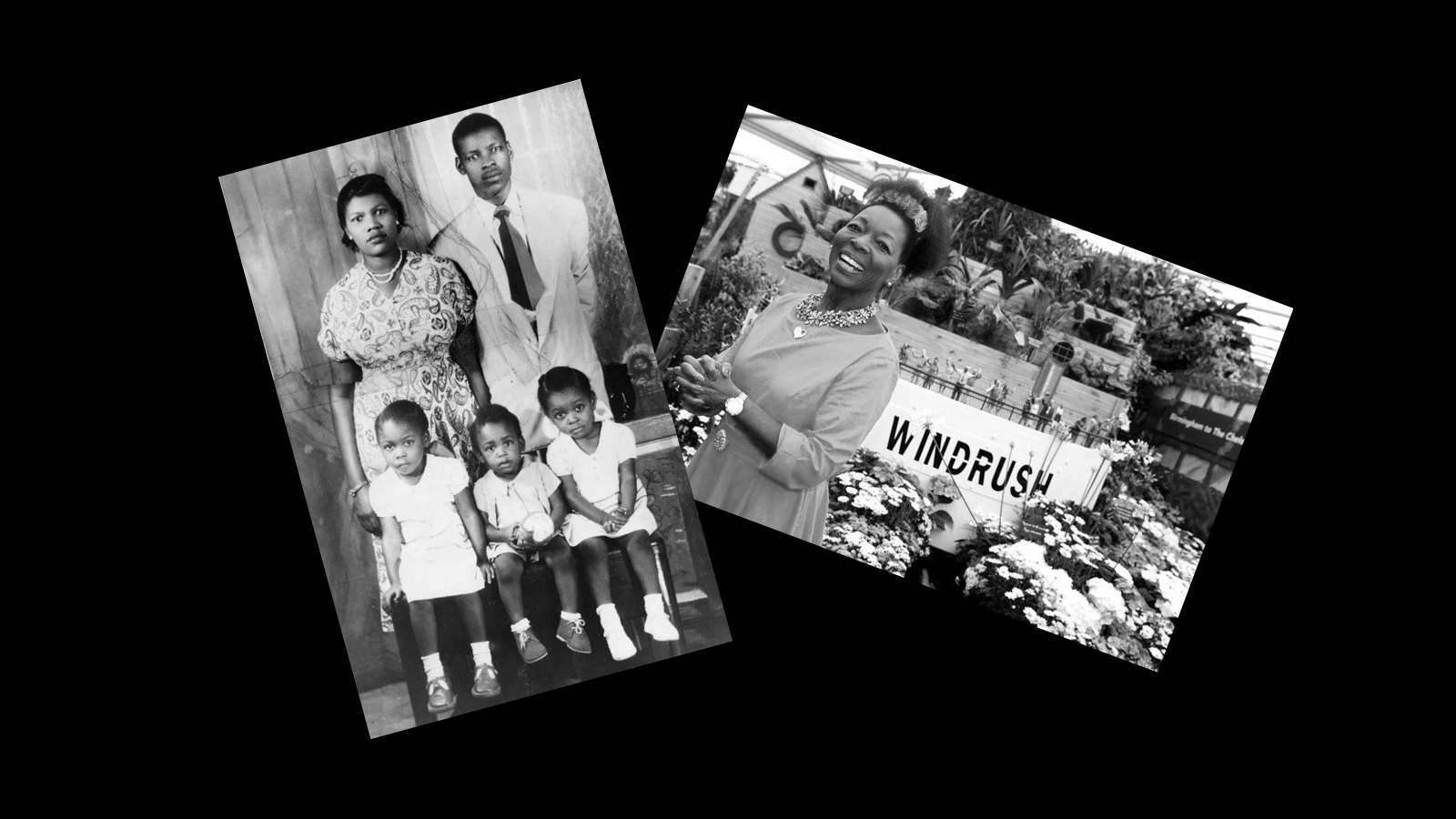 Photographs of Floella Benjamin as a child with her family and Floella with her Windrush garden