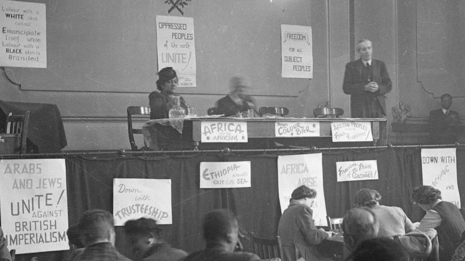 Banner image showing A A Garvey at the Fifth Pan African Congress