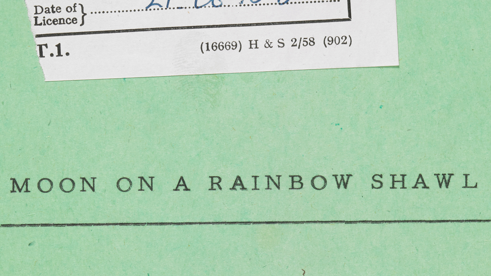 Banner image for article: 'An introduction to Moon on a Rainbow Shawl'. Crop of the front cover of the Lord Chamberlains Office script