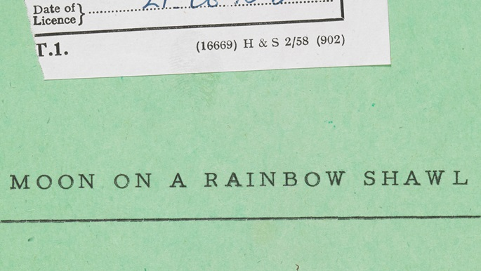 Crop of the front cover of the Lord Chamberlain Office's copy of Errol John's Moon on a Rainbow Shawl, showing the play's title