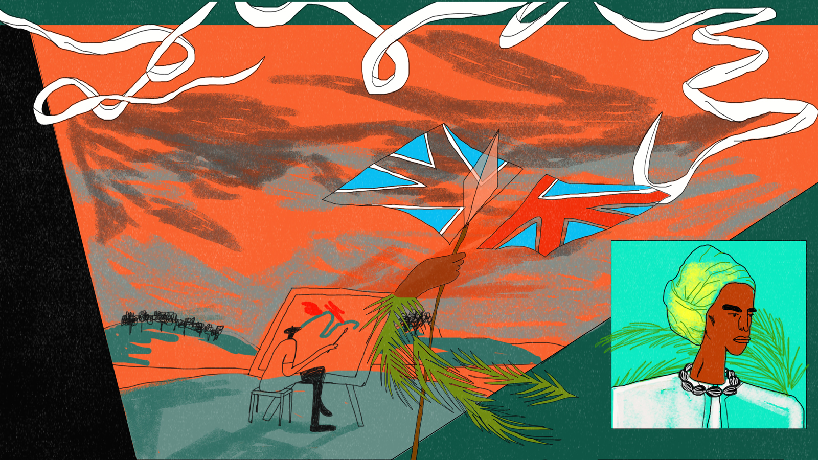 Illustration by Hannah Buckman interpreting John Agard's poetry. A ribbon, a man sat at an easel painting a landscape, a Union Jack flag cut in half and a portrait of a black woman