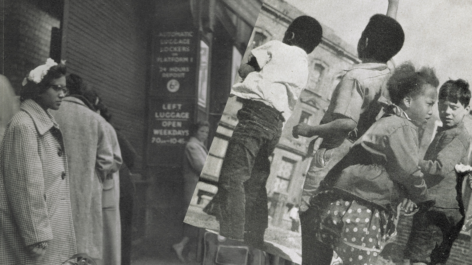 Collaged photographs of a black woman standing in a street in London and children playing outside, taken from the BBC pamphlet Going to Britain?