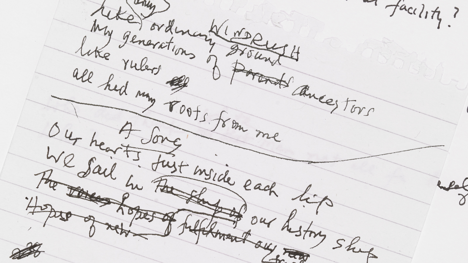 Crop of a page from handwritten drafts for Windrush Songs by James Berry