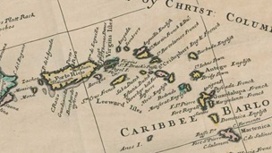 Crop of map showing Caribbean region from A General Chart of the West India Islands, 1796