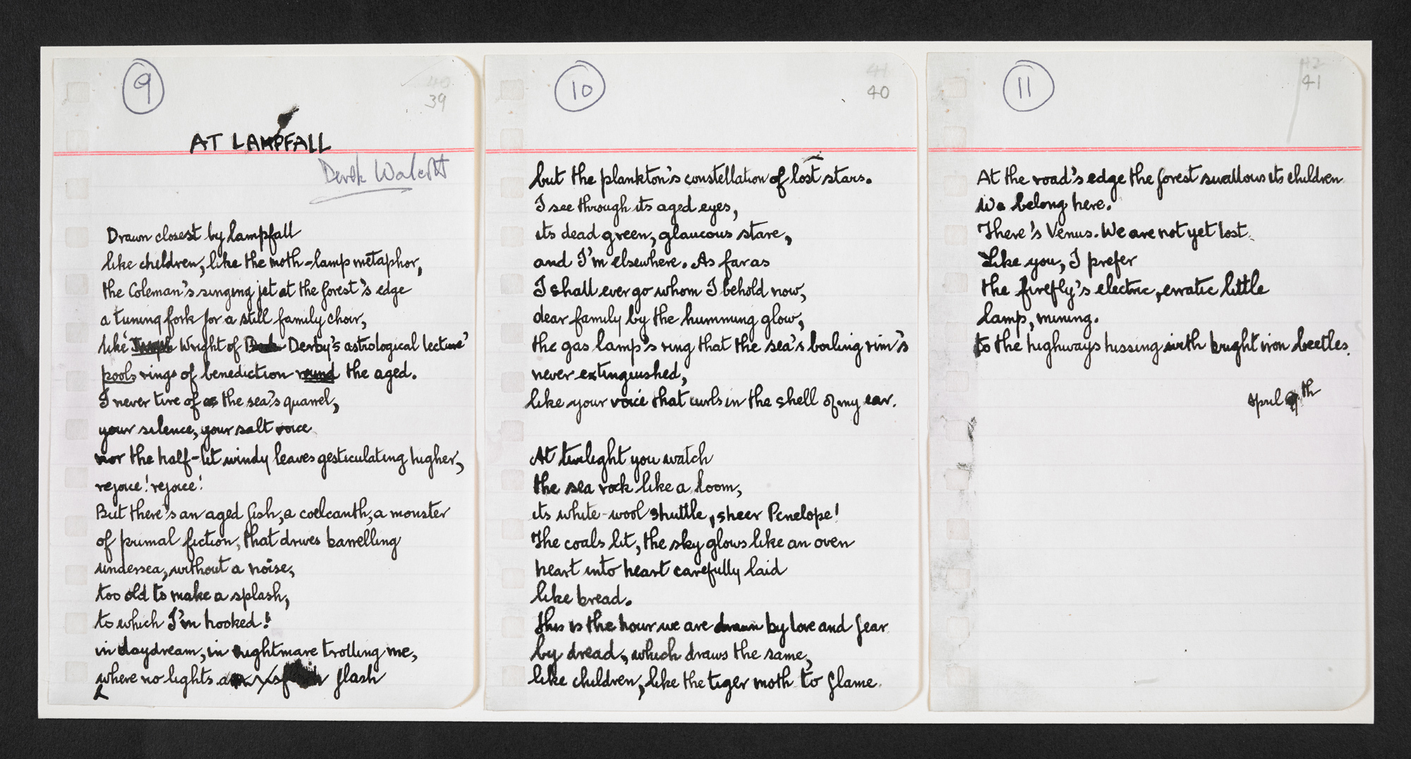 Typescript of Derek Walcott's At Lampfall Add MS 52594
