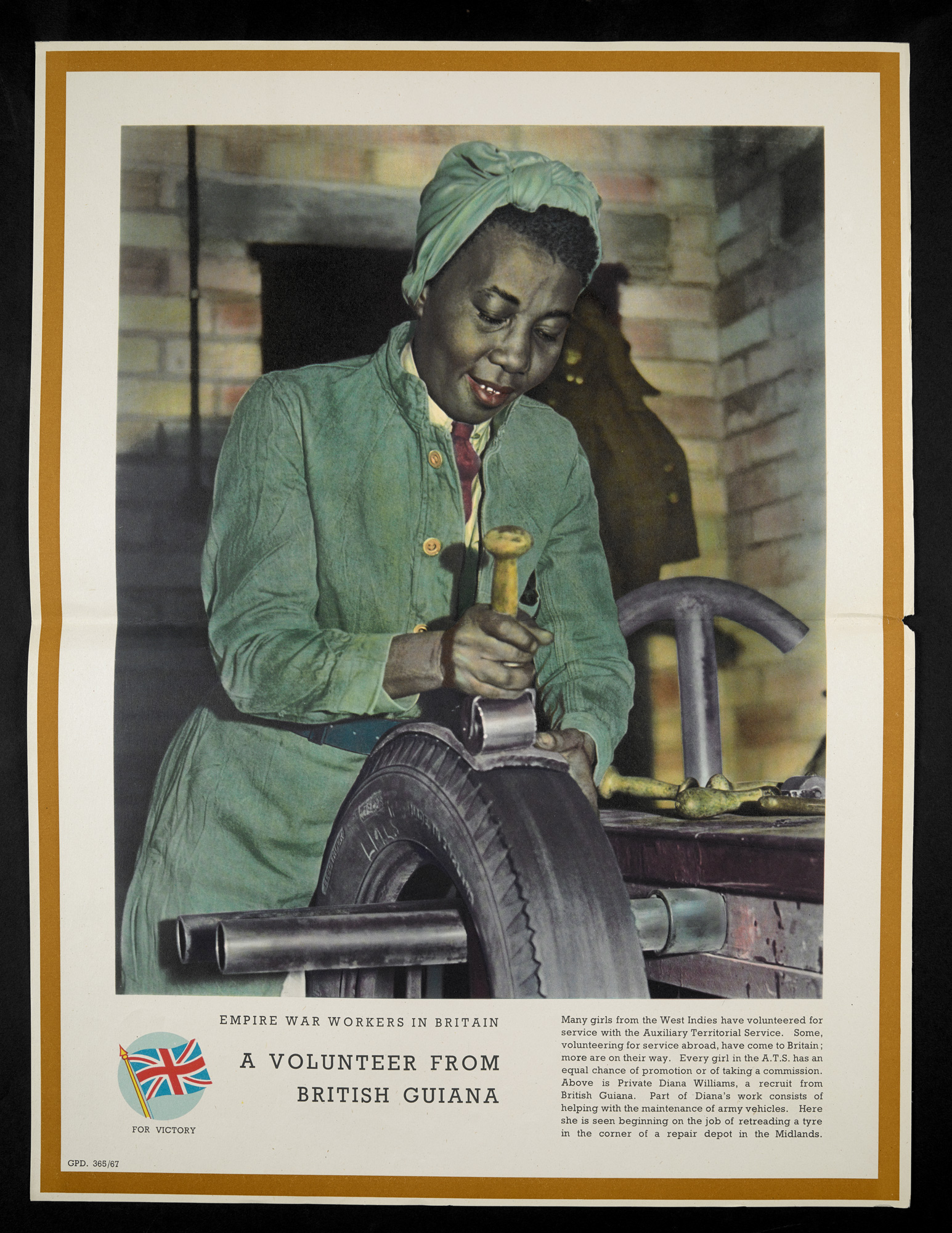 World War Two poster titled 'A volunteer from British Guiana', featuring a photograph of Private Diana Williams retreading a tyre at a repair depot