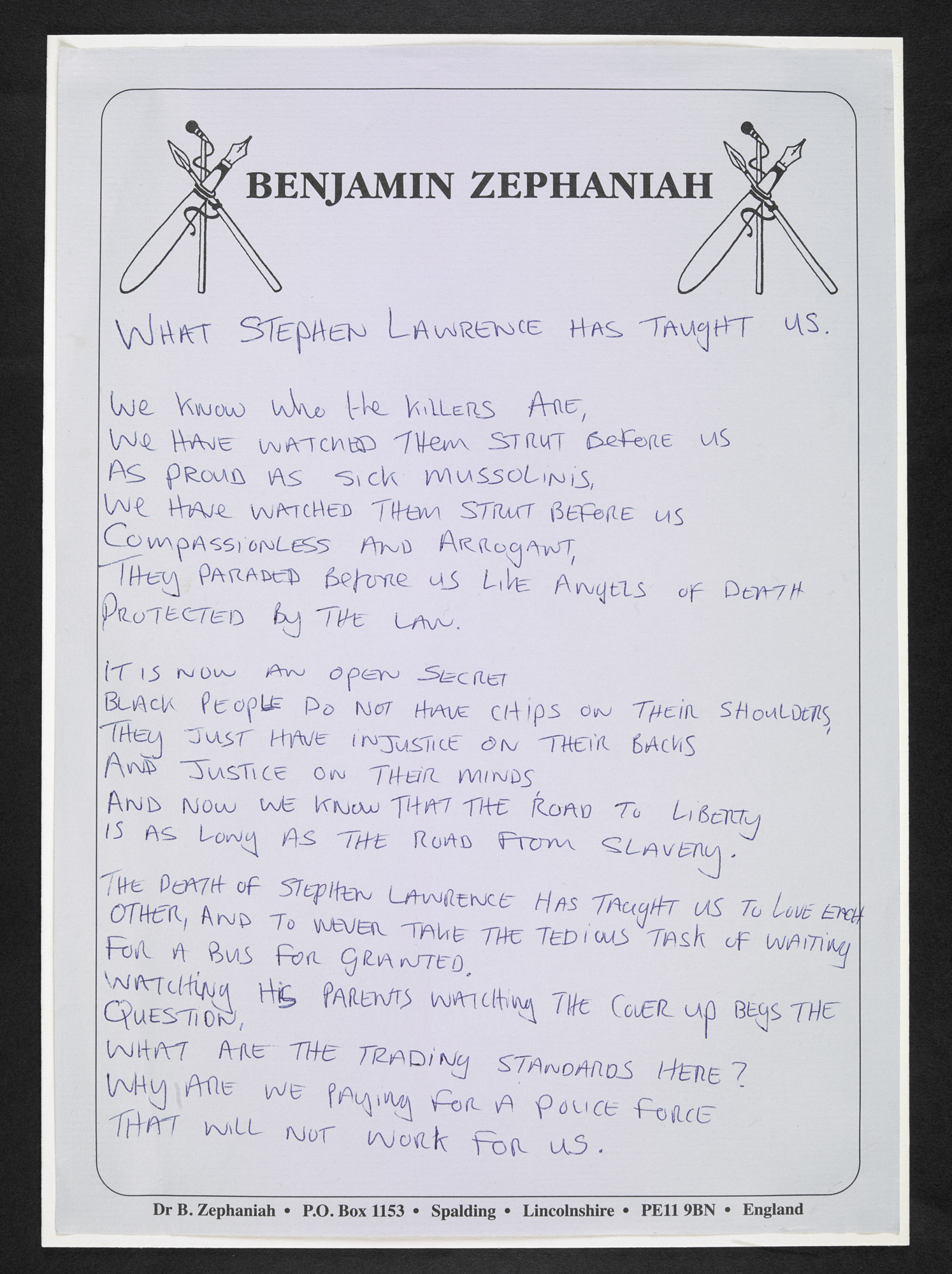 First page of a handwritten copy of Benjamin Zephaniah's poem 'What  Stephen Lawrence Has Taught Us'