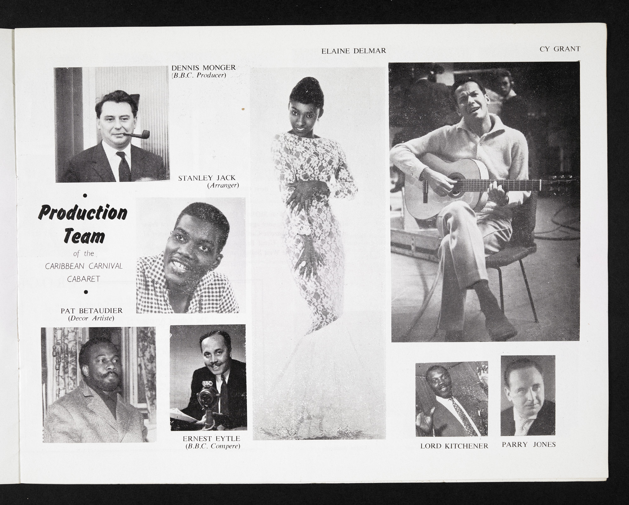 Page from the Caribbean Carnival programme for 1960, containing photographs of Lord Kitchener, Elaine Delmar and Cy Grant