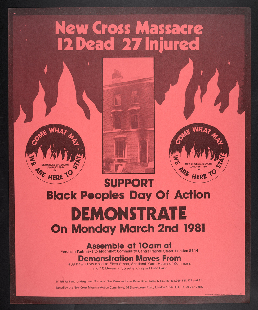 New Cross Massacre poster containing details for the Black People's Day of Action on 2 March 1981