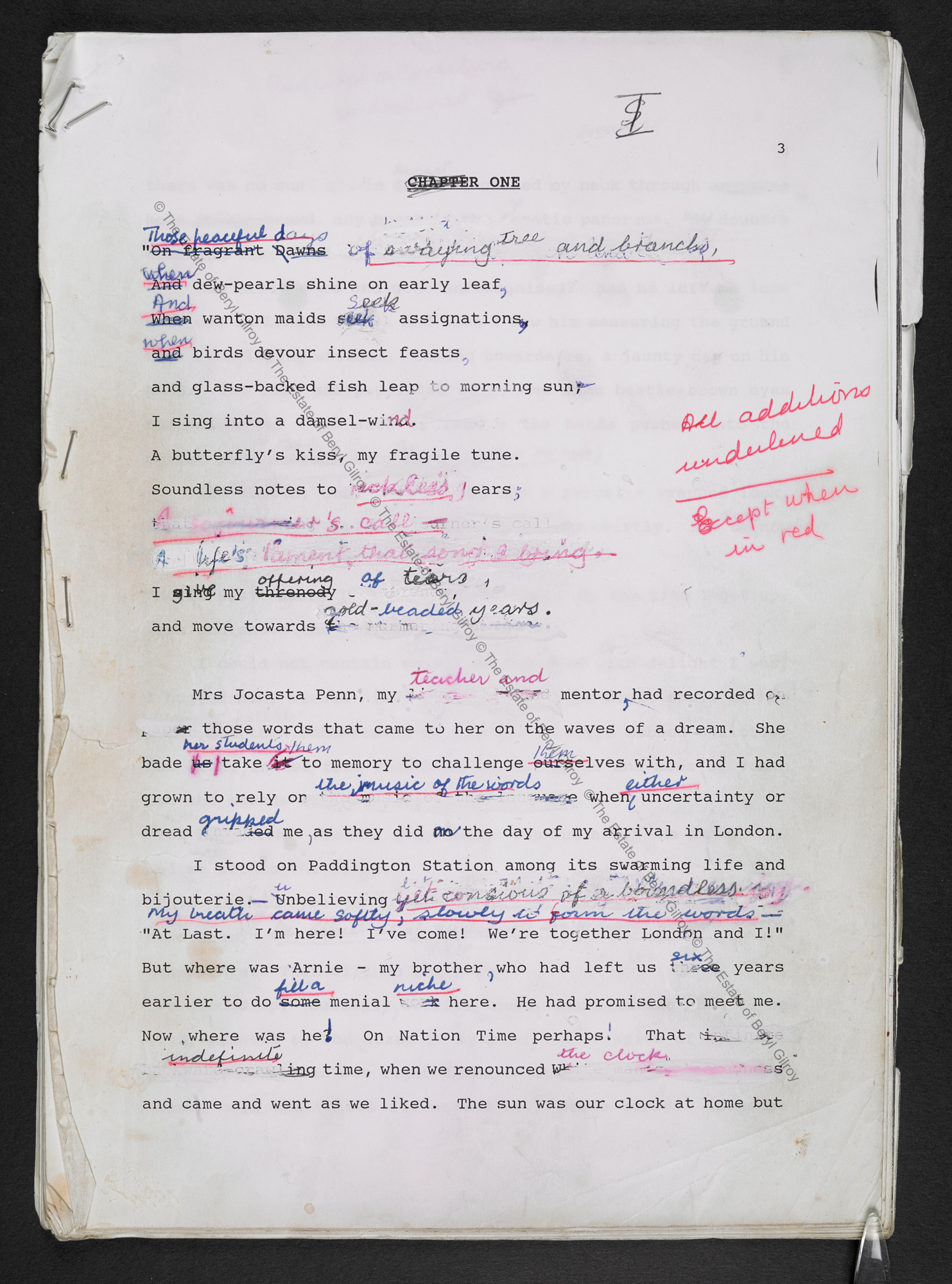 First page from the typescript draft of In Praise of Love and Children by Beryl Gilroy, heavily annotated in pen
