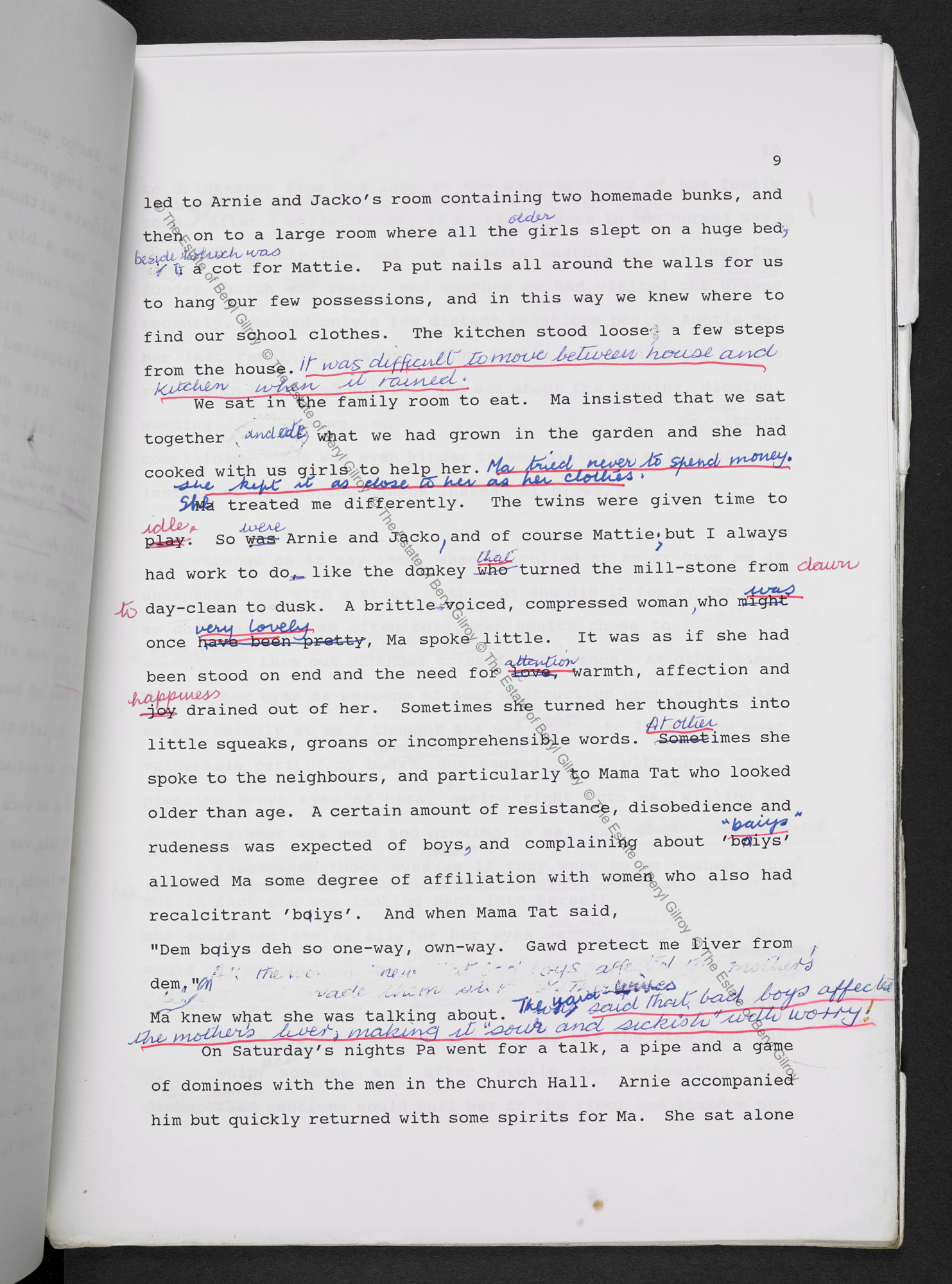 Page 9 from the typescript draft of In Praise of Love and Children by Beryl Gilroy, heavily annotated in pen