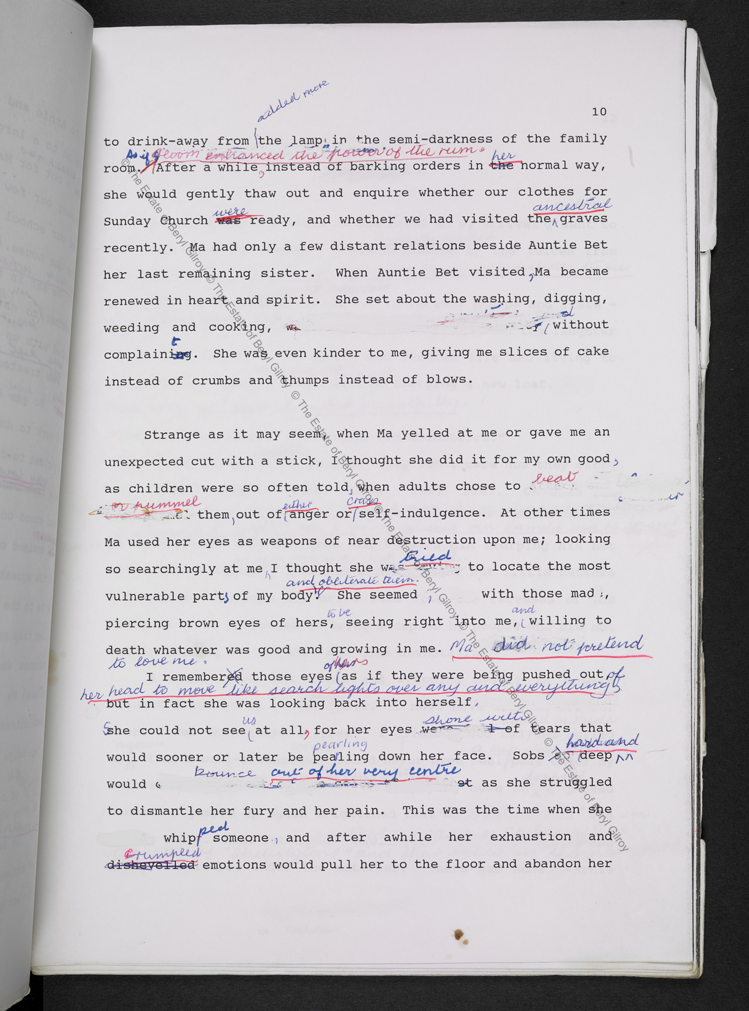 Page 10 from the typescript draft of In Praise of Love and Children by Beryl Gilroy, heavily annotated in pen