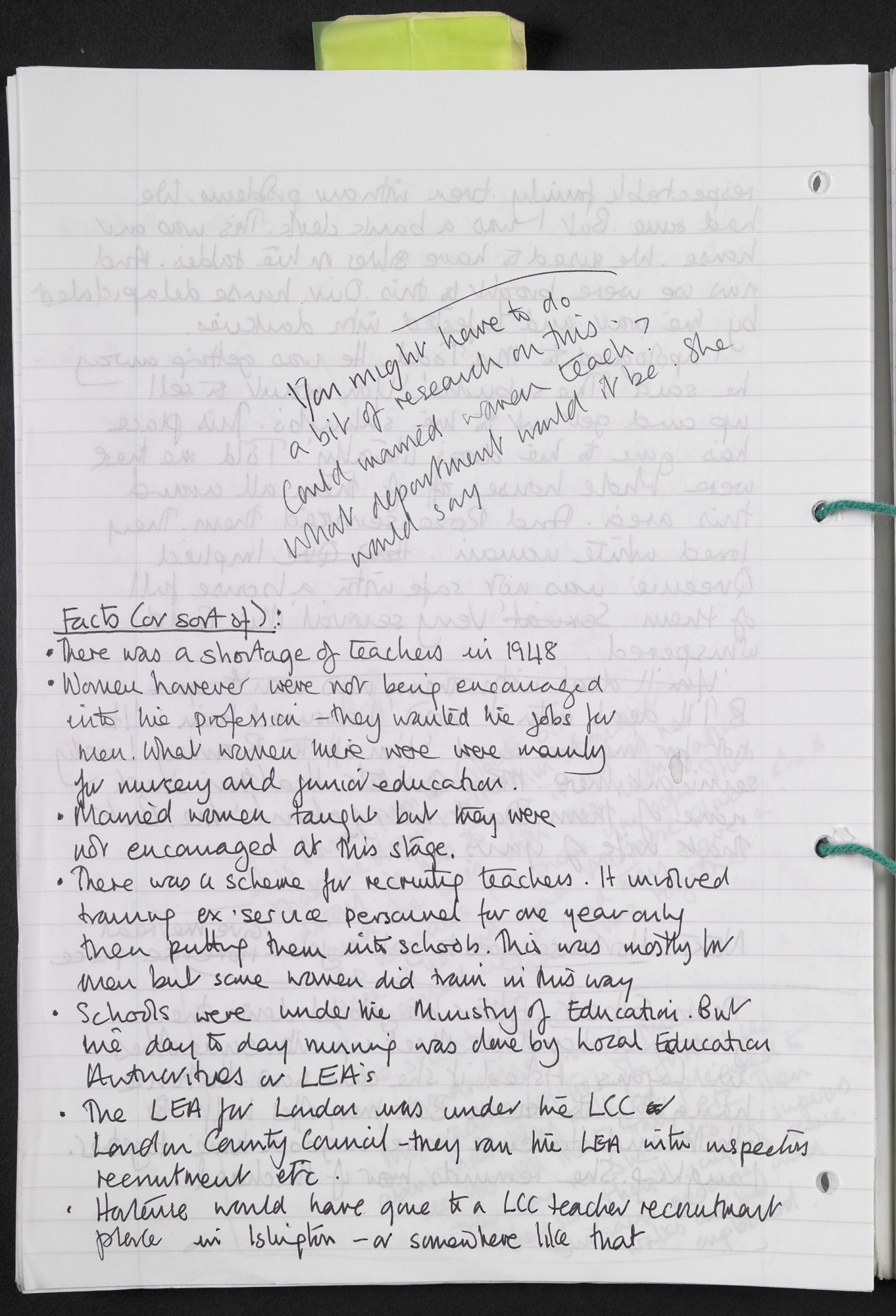Handwritten notes about teaching and the character of Hortense, from draft material for Andrea Levy's novel Small Island