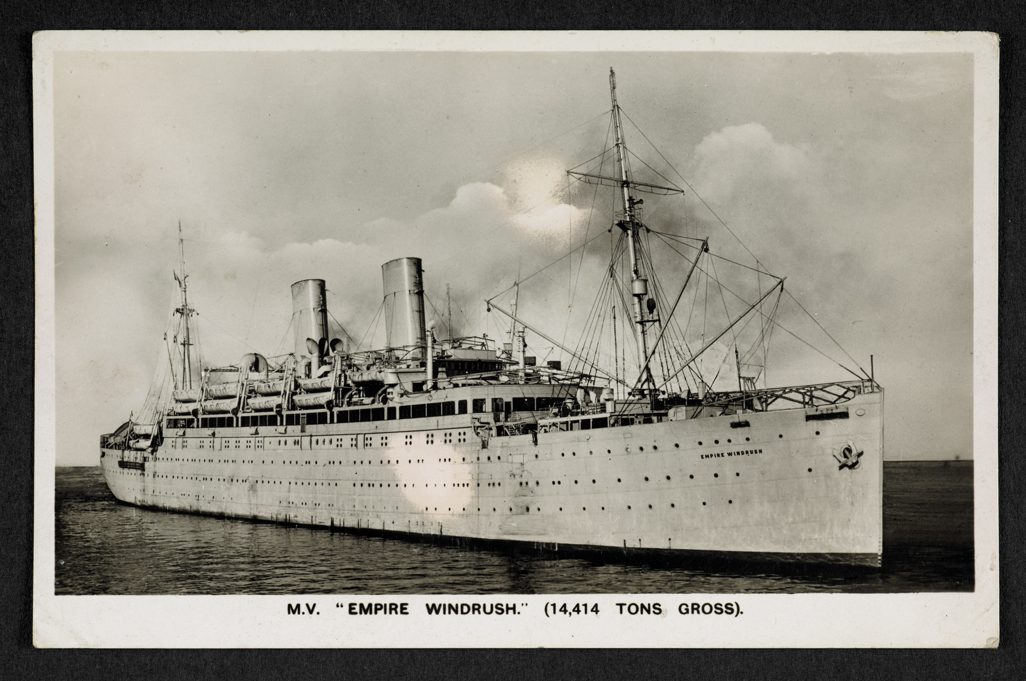 Postcard of Empire Windrush purchased on board ship by Winston Levy