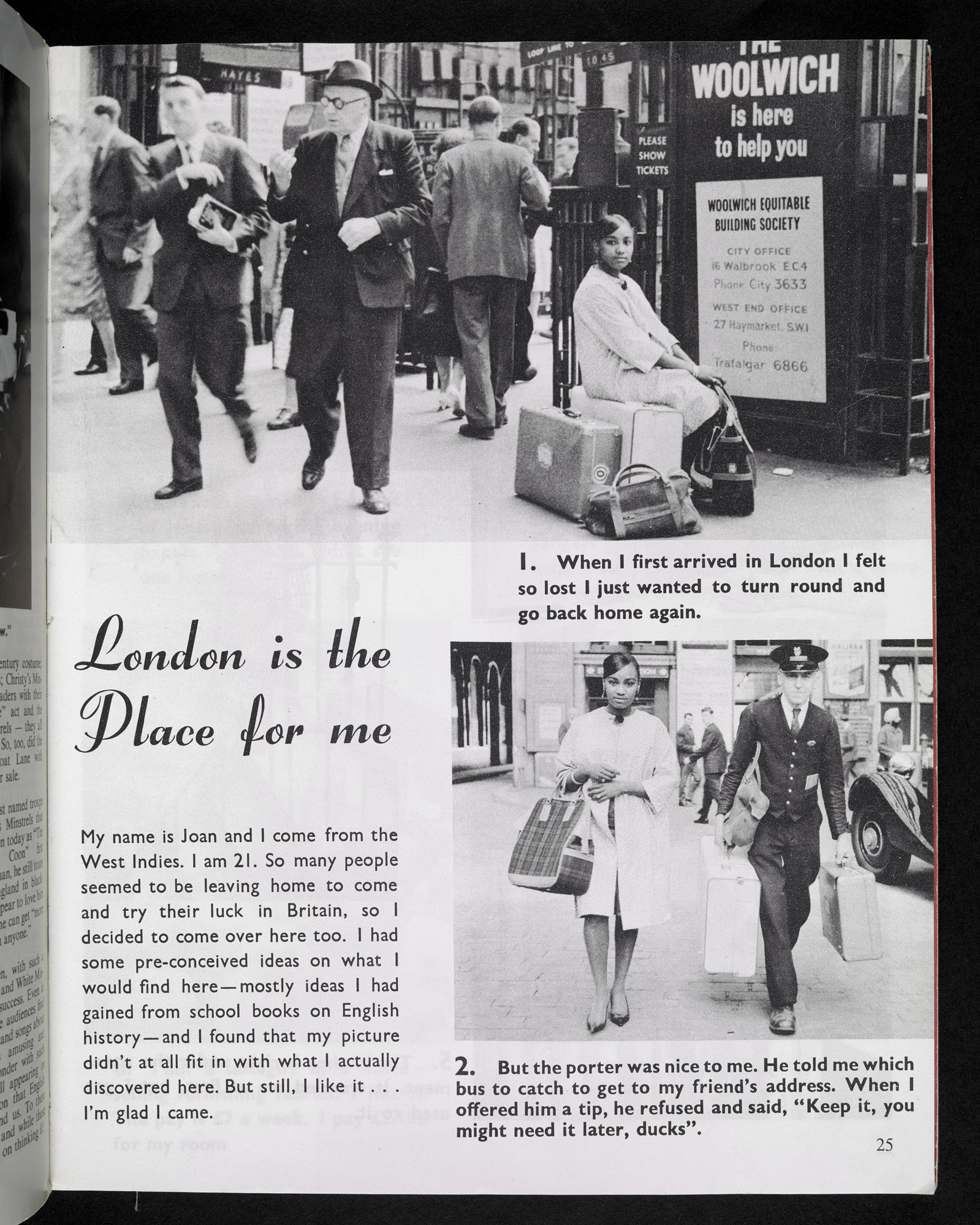 Page 25 from Flamingo Magazine, 'London is the Place for me' photo essay about 21-year-old Joan's arrival in London
