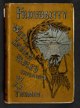 Front cover to Froudacity by JJ Thomas, depicting a sunset over a sea viewed through a jagged frame