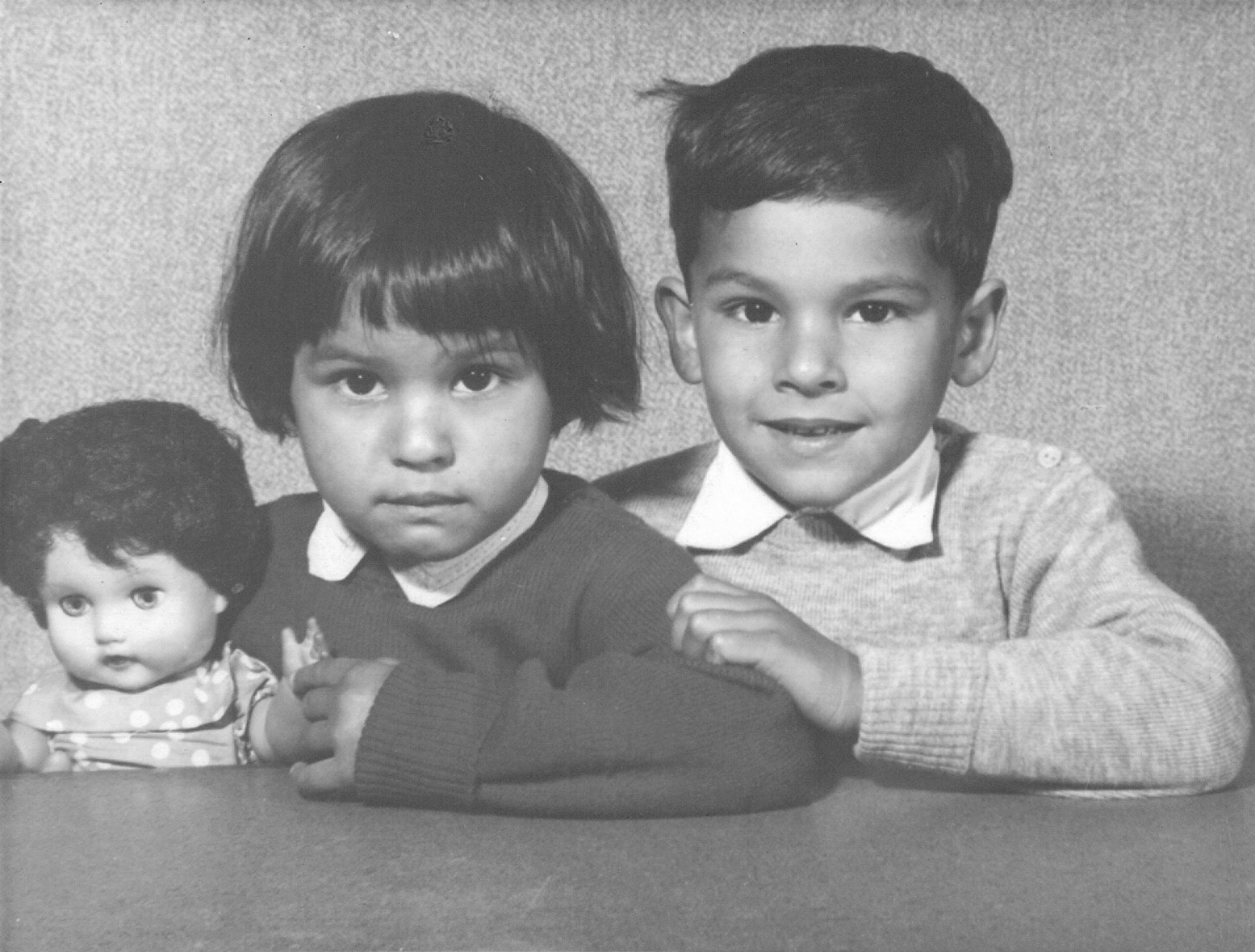 Heidi Safia Mirza and her brother at their primary school Balham, London 1962