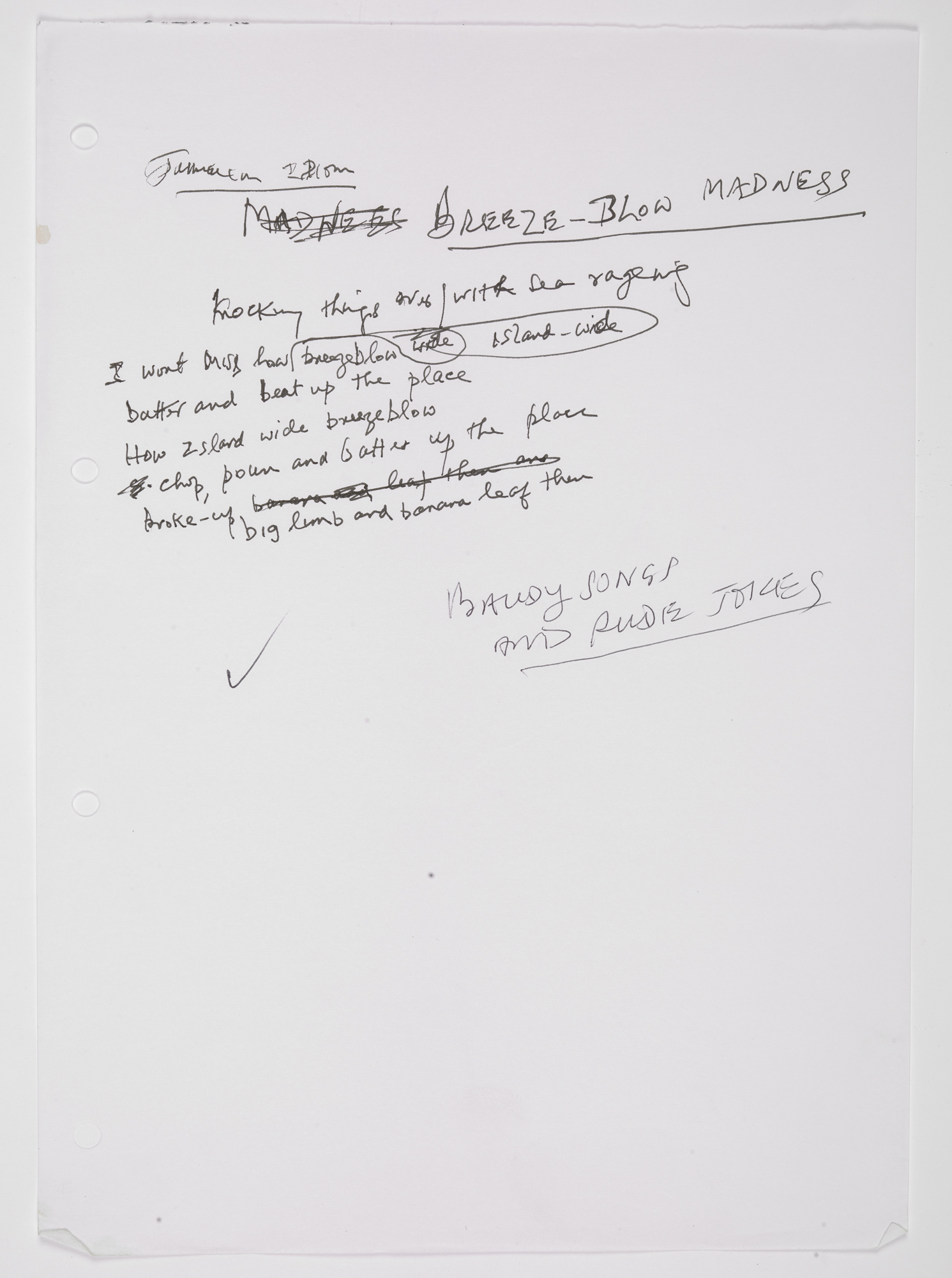 Handwritten draft poem titled Breeze-blow Madness by James Berry for his collection Windrush Songs