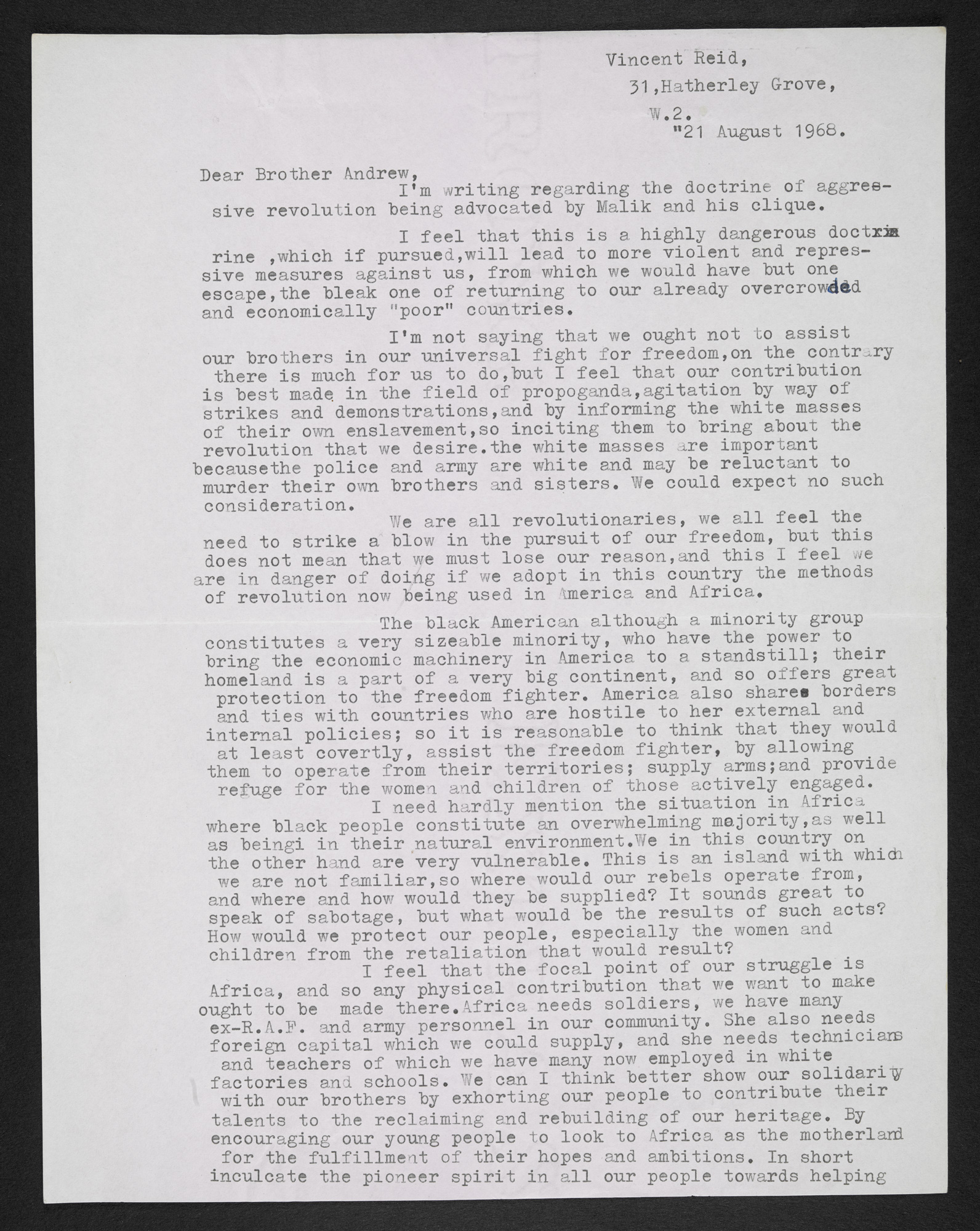 Typewritten letter from Vincent Reid to Andrew Salkey dated 21 August 1968